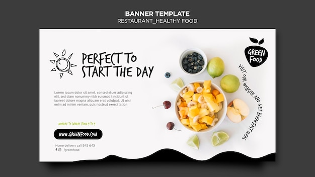 Healthy food template banner