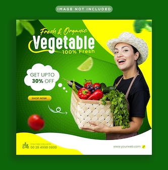 Healthy food vegetable and grocery social media instagram post and web banner template