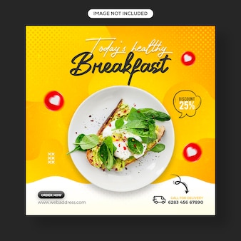 Healthy food and vegetable social media and instagram post banner template