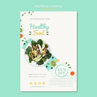 Healthy food voucher template with photo