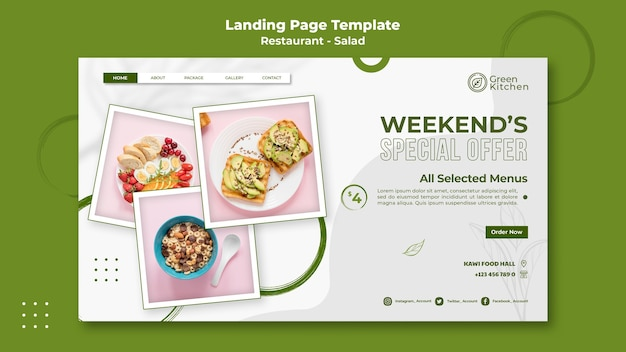 Modello web di cibo sano