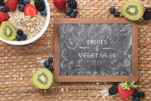 Healthy food with chalkboard