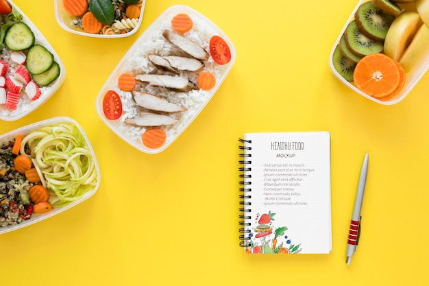 Healthy food with notebook mock-up