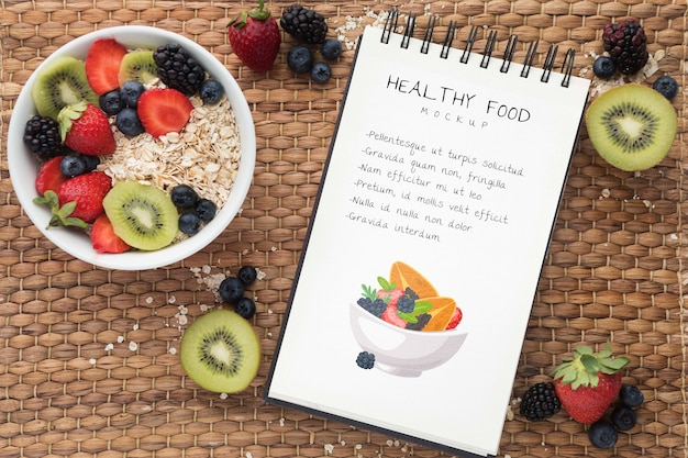 Healthy food with notebook