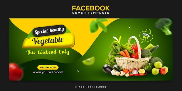 Обложка facebook и шаблон веб-баннера для здоровой свежей пищи, овощей и продуктов