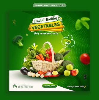 Healthy and fresh vegetable social media post ad and web banner template