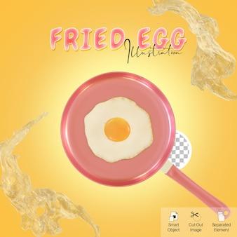 소셜 미디어 요소를 위한 달걀 흰자가 튀는 팬 3d 그림에 건강한 계란 프라이