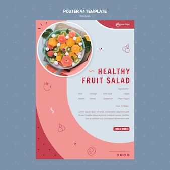 Healthy fruit salad poster template