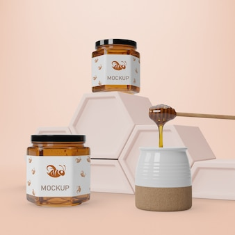 Healthy honey in jars