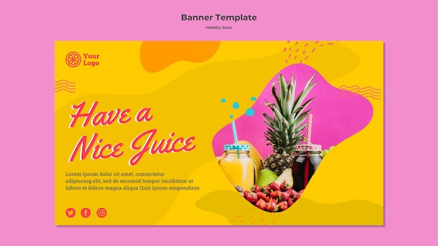 Здоровый сок баннер дизайн шаблона