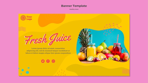 Healthy juice banner template