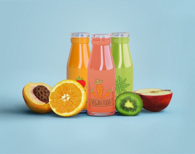 Healthy juice for detox concept and fruits