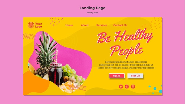 Healthy juice homepage design