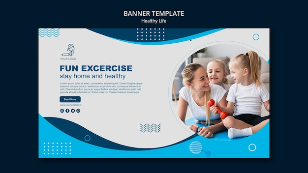 Healthy life concept banner design
