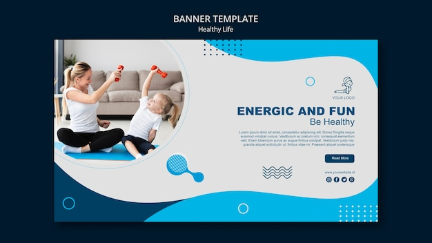 Healthy life concept banner template