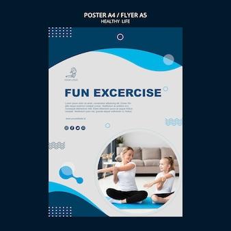 건강 한 생활 개념 전단지 디자인 무료 PSD 파일
