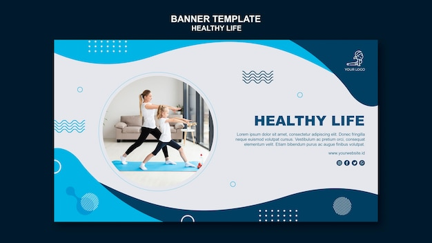 Healthy life concept horizontal banner