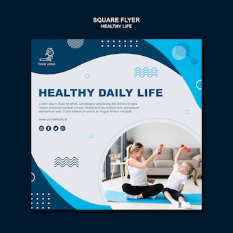 Healthy life concept square flyer design