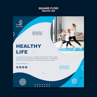 Healthy life concept square flyer style