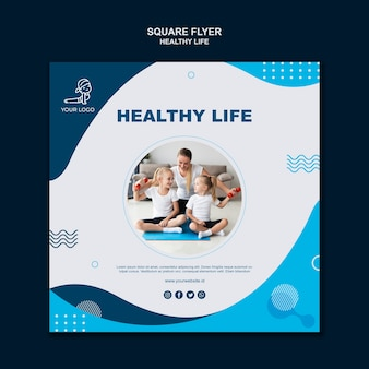 Healthy life concept square flyer