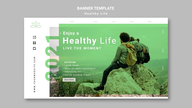 Healthy lifestyle banner template