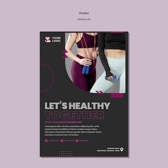 Healthy lifestyle poster template style