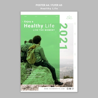 Healthy lifestyle poster template