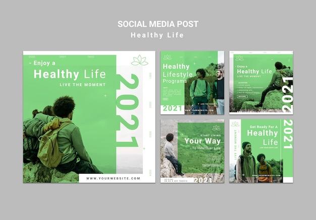 Post sui social media di stile di vita sano