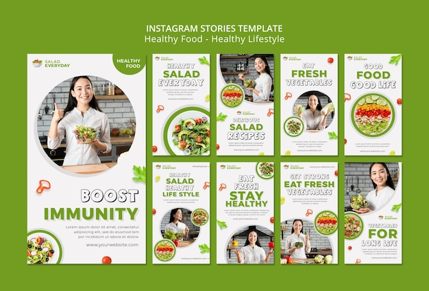Healthy lifestyle social media stories