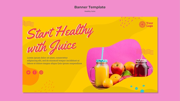 Healthy lifestyle with juice banner template
