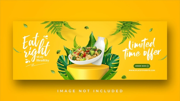 Healthy menu promotion facebook cover banner template