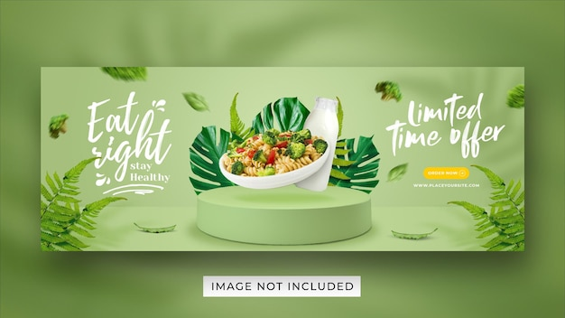 Healthy menu promotion social media facebook cover banner template