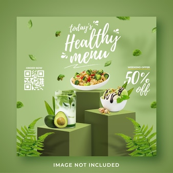 Healthy menu promotion social media instagram post banner template
