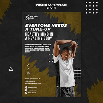 Healthy mind and body poster template