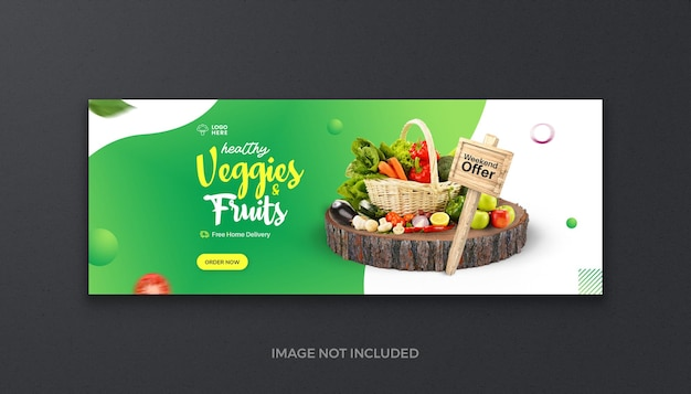 Healthy organic food vegetable fruit and grocery fresh social media facebook cover and web banner