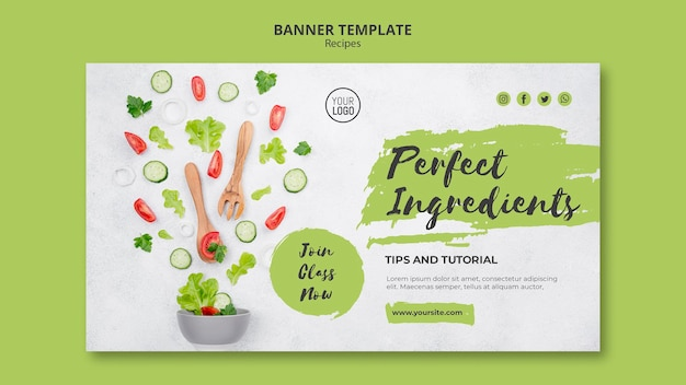 Healthy recipes ad banner template