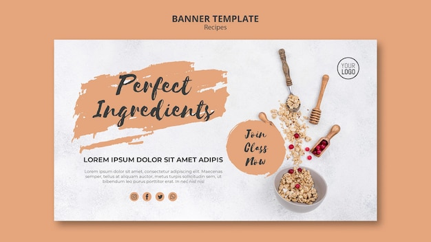 Healthy recipes banner template