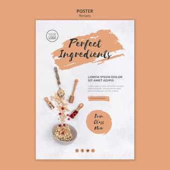 Healthy recipes poster template