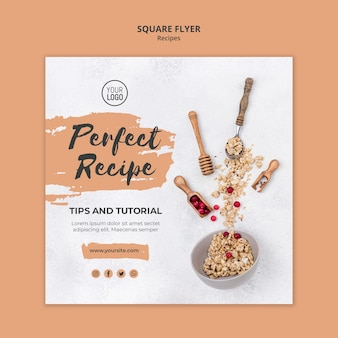 Healthy recipes square flyer template