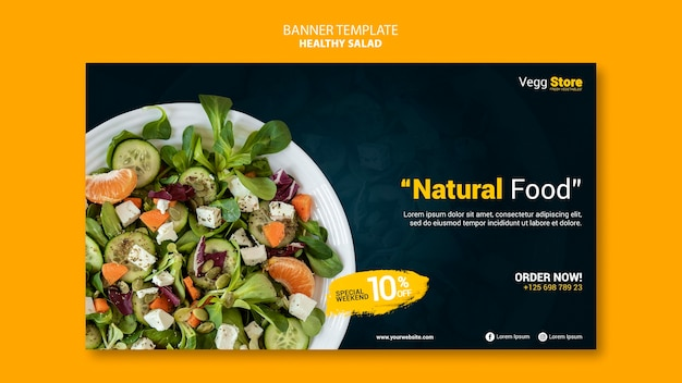 Healthy salad banner template