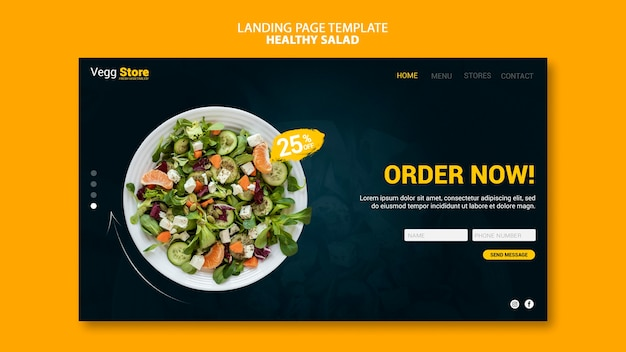 Healthy salad landing page template