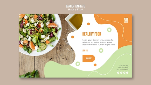 Healthy salad and parsley banner template