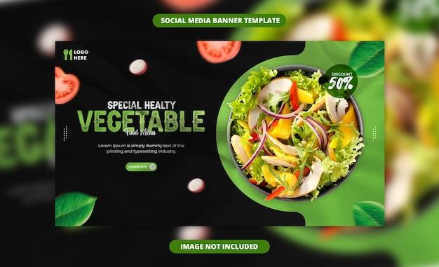 Здоровый салат в социальных сетях и шаблон сообщения instagram
