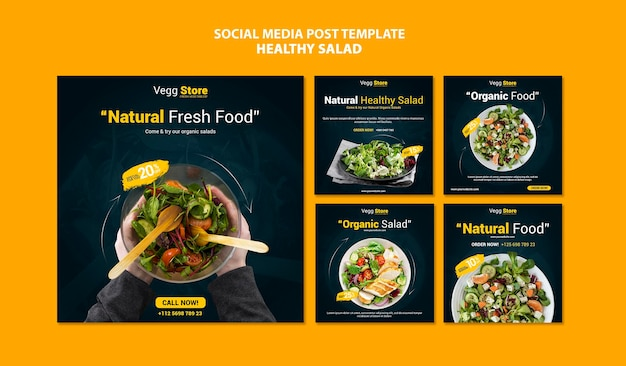 Healthy salad social media posts