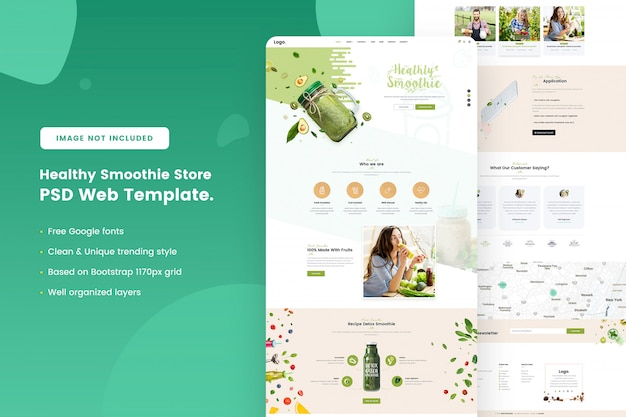Healthy smoothie store web template