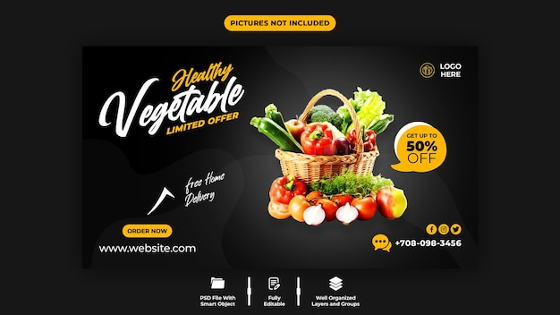 Здоровые овощи и шаблон веб-баннера