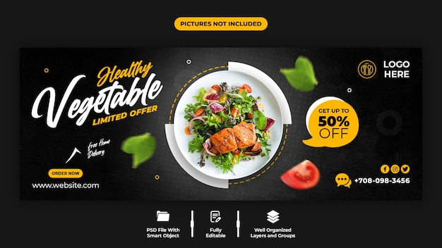 Healthy vegetable facebook cover template