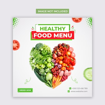Healthy vegetable food social media and instagram post template