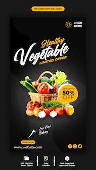 Healthy vegetable and instagram banner template