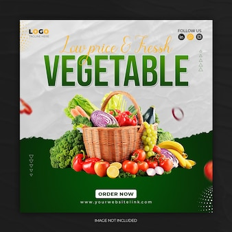 Продвижение здорового овощного меню в социальных сетях instagram пост баннер шаблон premium psd